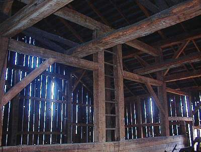 White Oak hand hewn timber frame barn.