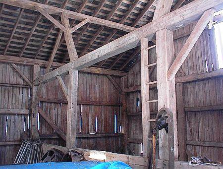 Hugli timber frame barn interior.