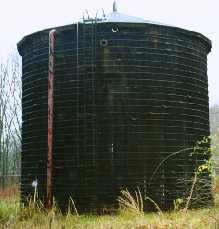 One of two old growth redwood tanks.