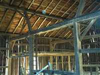 Nice hewn beams in large barn.